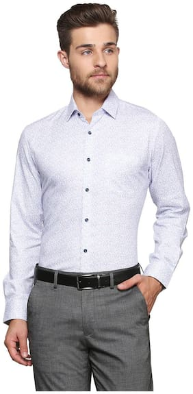 Peter England Men Super Slim Fit Formal Shirt - White