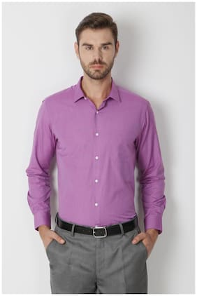 Peter England Purple Cotton Blend Comfort Fit Formal Solid Shirt