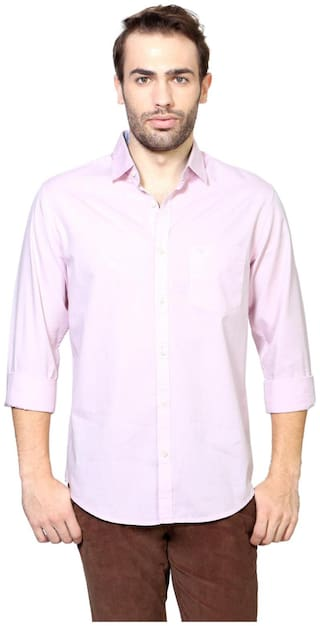 Peter England Men Pink Solid Slim Fit Casual Shirt