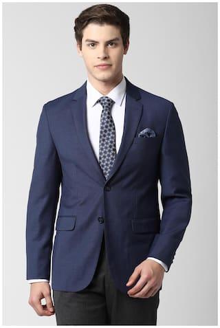 Peter England Men Blue Textured Slim fit Single Breasted Blazer
