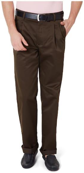 Peter England Blended Comfort Green Formal Trouser
