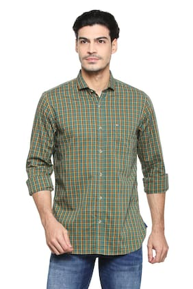 Peter England Men Regular Fit Casual shirt - Green