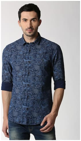 Peter England Men Super Slim Fit Casual shirt - Blue