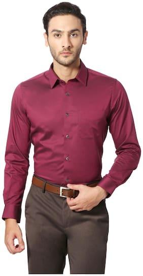 Peter England Men Slim Fit Formal Shirt - Maroon