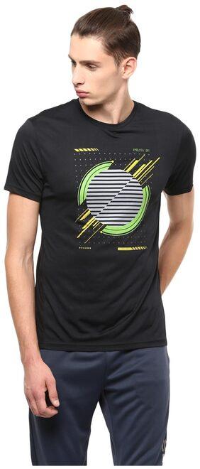 Peter England Men Slim Fit Crew Neck Printed T-Shirt - Black