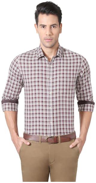 Peter England Men Regular fit Formal Shirt - Pink
