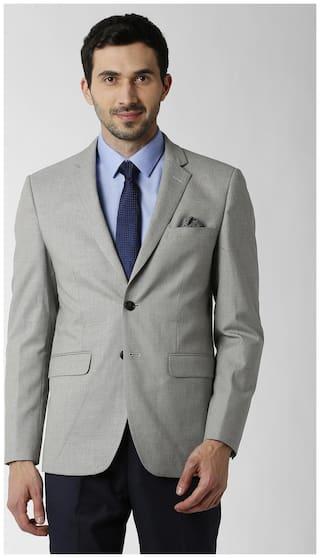 Peter England Men Blended Slim fit Blazer - Grey