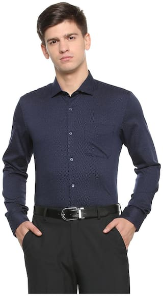 Peter England Men Slim Fit Formal Shirt - Blue