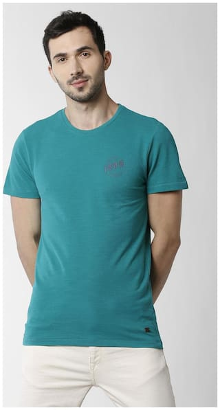 Peter England Men Blue Slim fit Cotton Blend Round neck T-Shirt - Pack Of 1