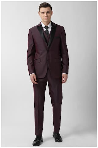 Peter England Blended Textured Men Maroon Single Breasted Suit