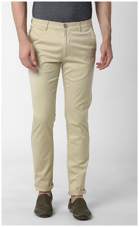 Peter England Men Cotton Slim Fit Casual Trouser Beige color