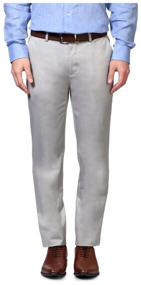 Peter England Cotton Blend Grey Solid Slim Fit Formal Trouser