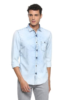 Peter England Men Slim Fit Casual shirt - Blue