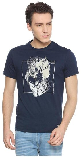 Peter England Men Slim Fit Crew Neck Printed T-Shirt - Blue