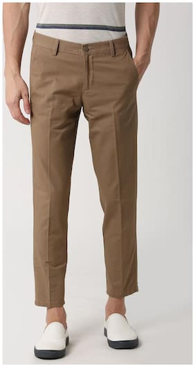 Peter England Brown Casual Trousers