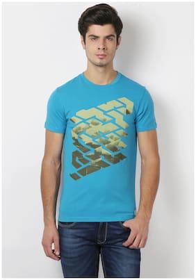 Peter England Blue Cotton Blend Slim Fit Crew Neck Print T-shirt