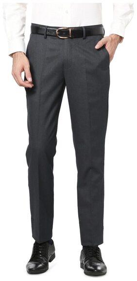 Peter England Blended Slim Grey Formal Trouser