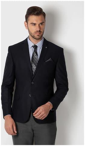 Peter England Men Blended Slim fit Blazer - Blue