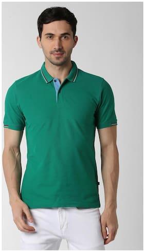 Peter England Men Regular fit Polo neck Solid T-Shirt - Green
