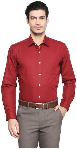 Peter England Men Super Slim Fit Formal Shirt - Maroon