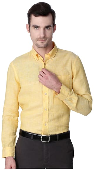 b4775f9da6cd Buy Peter England Yellow Linen Formal Shirt Online at Low Prices in ...
