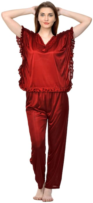 Phalin Women Blended Solid Top and Pyjama Set - Red