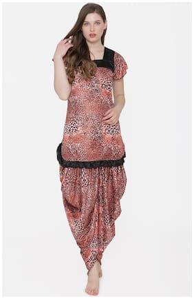Phalin  Print Satin Short Sleeve Top and Long Leg Dhoti Set - Multi