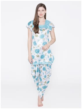 Phalin Women Satin Floral Top and Pyjama Set - Blue