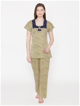 Phalin Women Hosiery Printed Top and Pyjama Set - Yellow