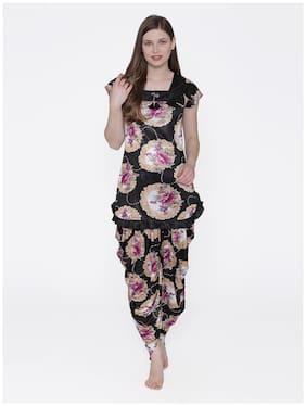 Phalin Women Satin Printed Top and Pyjama Set - Black