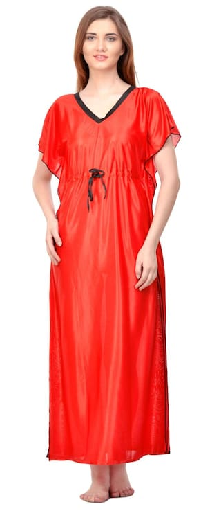 5e8fc0f15c Buy Phalin Blended Night Gown Solid Nightwear Red - (Pack of 1 ...