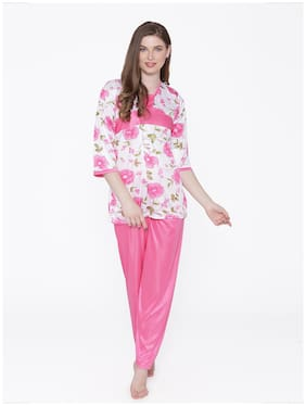 Phalin Women Satin Floral Top and pyjama set - Pink
