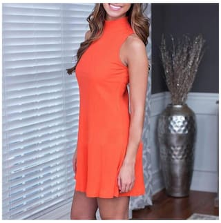 Sleeveless Color S Dress Stand for Women Slimming Phenovo Flare Up Solid Collar wUWZXt