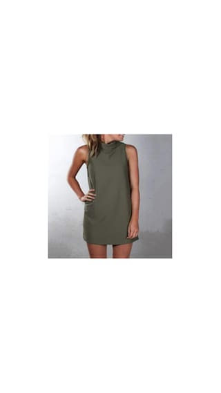 Army High Straight Dress Skirt L Stand Women's green Phenovo Collar Collar ZnRx181aW