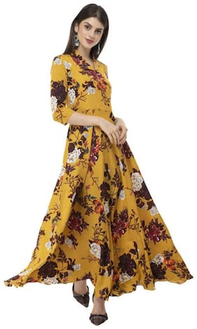 PHONIC Mustard Floral Fit & flare dress