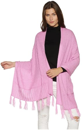 Picot Women Super Soft Blended Acrylic Winter Wear Stole-Pink