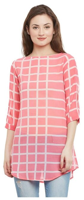 Pink and White Printed Tunic