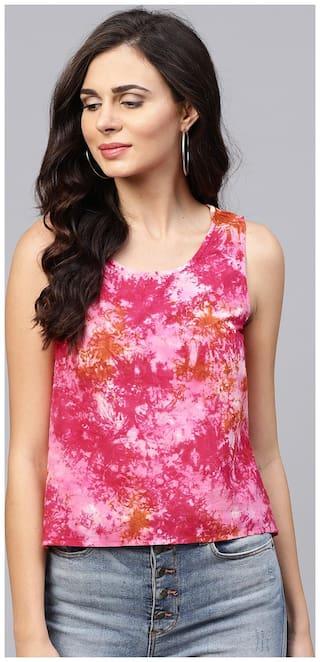 AASI- HOUSE OF NAYO Women Cotton Dyed - Regular Top Pink