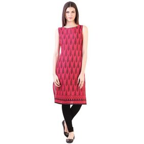 Pink cotton long straight kurta