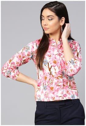 Women Printed Mandarin Collar Top ,Pack Of 1