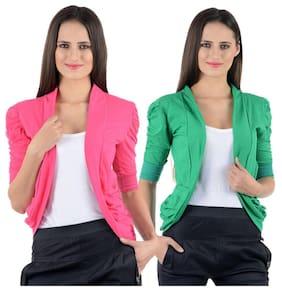 Pink & Green Gathering Sleeve Shrugs