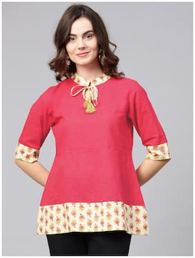 AASI- HOUSE OF NAYO Women Cotton Printed - A-line Top Pink