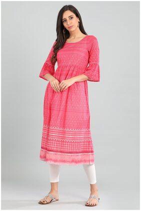 Aurelia Women Cotton Printed Anarkali Kurta - Pink