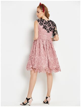 Women's Sleeveless Lace Lace Dress Women's Dress Pink Lace Pink Sleeveless Pink Women's Dress Sleeveless dXHFpwFqx
