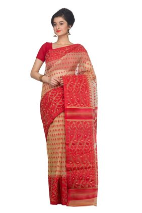 PinkLoom Cotton Jamdani Tie & dye work Saree - Multi