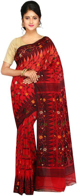 PinkLoom Cotton Jamdani Tie & Dye Work Saree - Multi