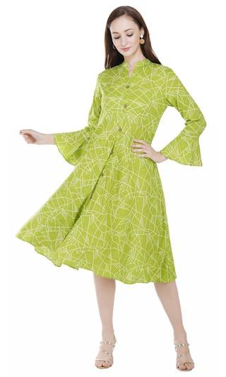 PINKY PARI Green Printed Fit & flare dress