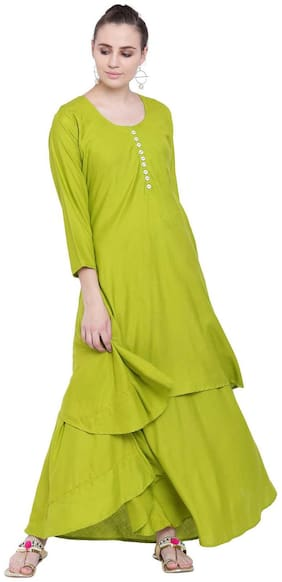 PINKY PARI RAYON GREEN SOLID LAYERED ALINE LONG STYLISH KURTA