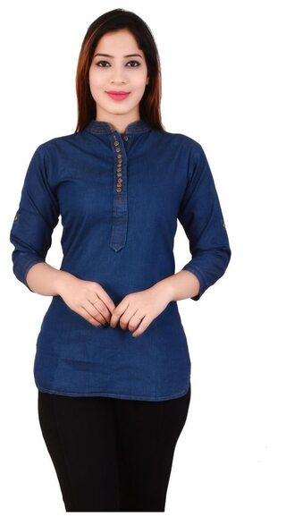 PINKY PARI SHORT  BAND COLLAR BUTTON PLACKET BLUE DENIM PATHANI KURTI