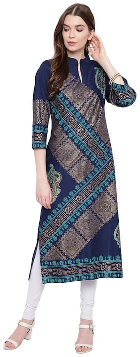 PINKY PARI Women Blue Printed Straight Kurta